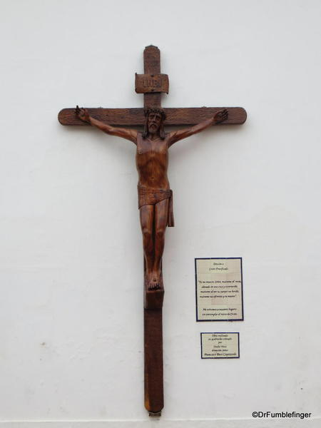 Crucifix on the exterior of The Church of Our Lady of Pilar, Recoleta