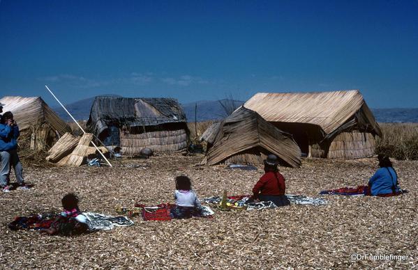 Women selling souvenirs, Uros Island, Lake Titicaca