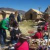 Women selling souvenirs,  Uros Island, Lake Titicaca.  Courtesy Alfredobi and Wikimedia - Copy