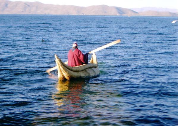 Reed canoe, Uros Island, Lake Titicaca