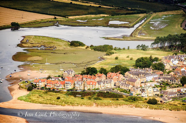 Aerial views of Alnmouth, Northumberland