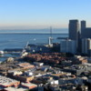 View of San Francisco from the Coit Tower.: Pictured is the San Francisco-Oakland Bay Bridge and part of downtown San Francisco.