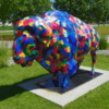 Painted Bison on the grounds of the Fargo-Moorhead Visitor Center