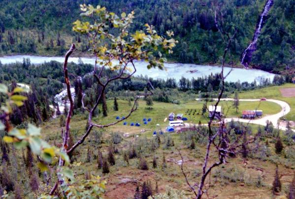 Svartisen campsite seen from 600 ft up the safe ridge descent