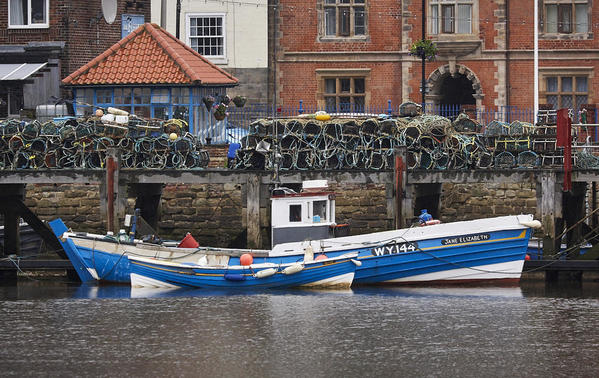 Harbour mooring and crab pots.