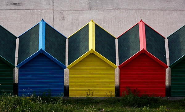 Beach huts at West Cliff.