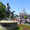 """Statue of Walt Disney and Mickey Mouse titled """"Partners"""".: Located in front of Sleeping Beauty's Castle, Disneyland, Anaheim, California."""