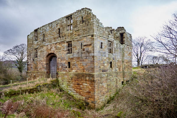 Castle gatehouse ruins.