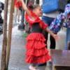 A pretty young flamingo dancer