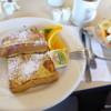 Peg's Glorified Ham n Eggs.  French toast and fruit