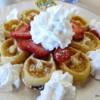 Peg's Glorified Ham n Eggs.  Waffle