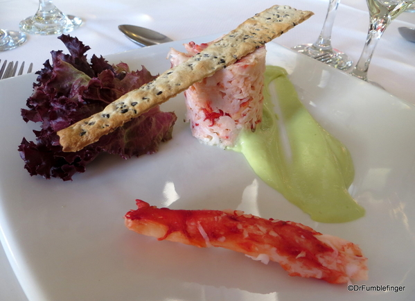 01 King Crab salad with couscous and avocado mousseline
