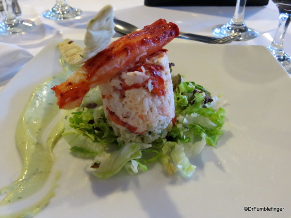 10 King Crabe served on mote wheat with cilantro dressing, grissini with herbs