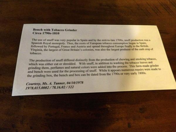 Tobacco Grinder Note