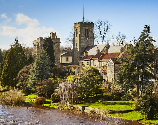 West Tanfield - Marmion Tower and church from the flooded River Ure.