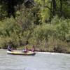 Rafting on the Bow river near Prince's Island Park, Calgary