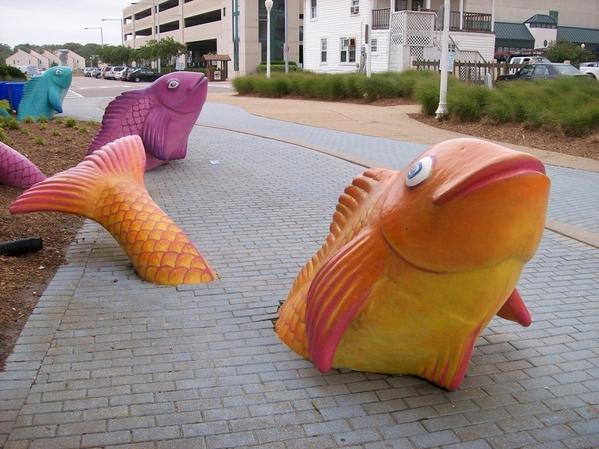 Sidewalk Fish Sculptures