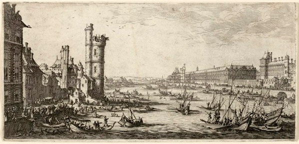 Engravings-of-annual-jousting-contest-on-river-Seine-in-Paris-by-Jacques-Callot-in-1630.-On-the-left-the-Nesles-tower.-On-the-right-the-Louvre-and-the-tour-du-Bois