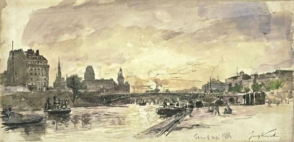 Johan-Barthold-Jongkind-View-of-Paris-docks
