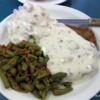 Chicken fried steak, mashed potatoes, green beans and country gravy.  At Mom's Cafe, Salina, Utah