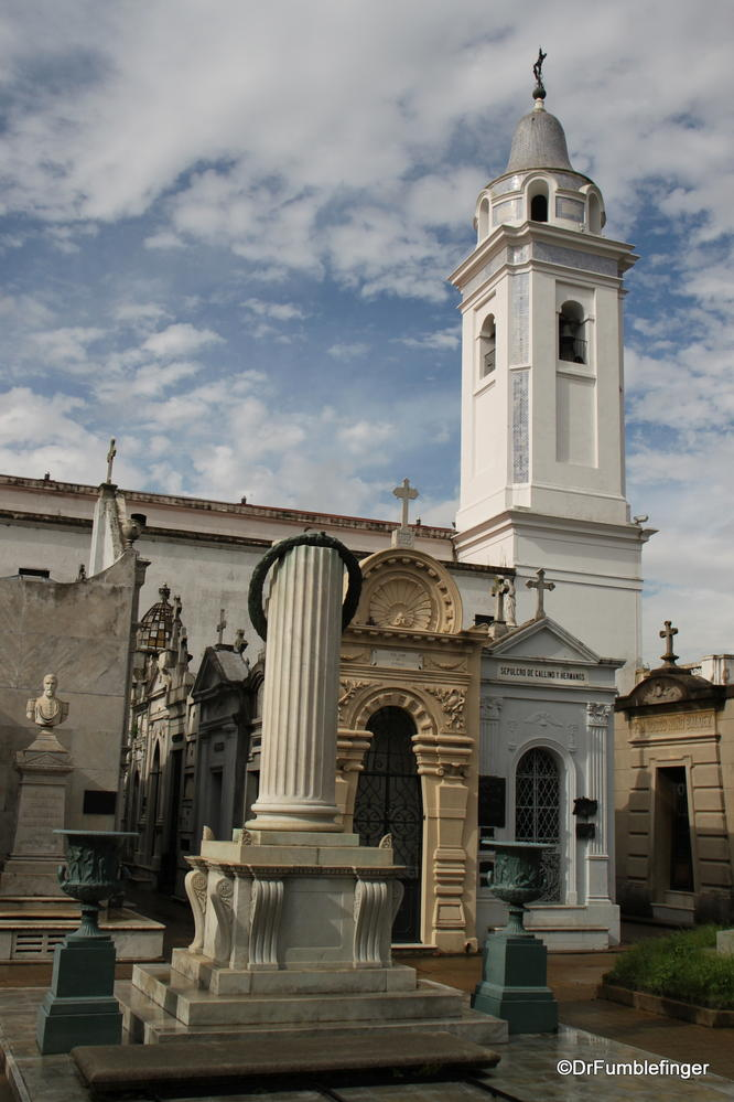 Recoleta Cemetery, Buenos Aires.  The Tower of Basilica Nuestra Senora del Pilar is in the background