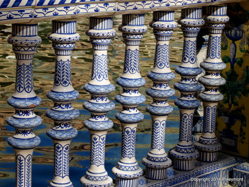 Porcelain railing at Plaza de Espana in Seville