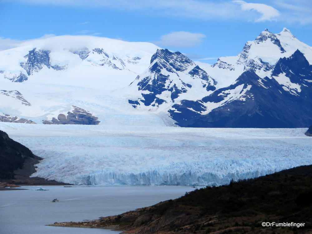 First distant views of Patagonia's Perito Moreno Glacier, Argentina