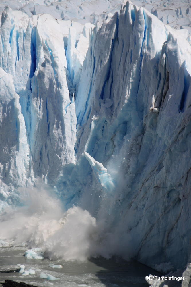 Ice chunk breaking off the Perito Merino Glacier, associated with a big splash.  Can you see the piece falling?