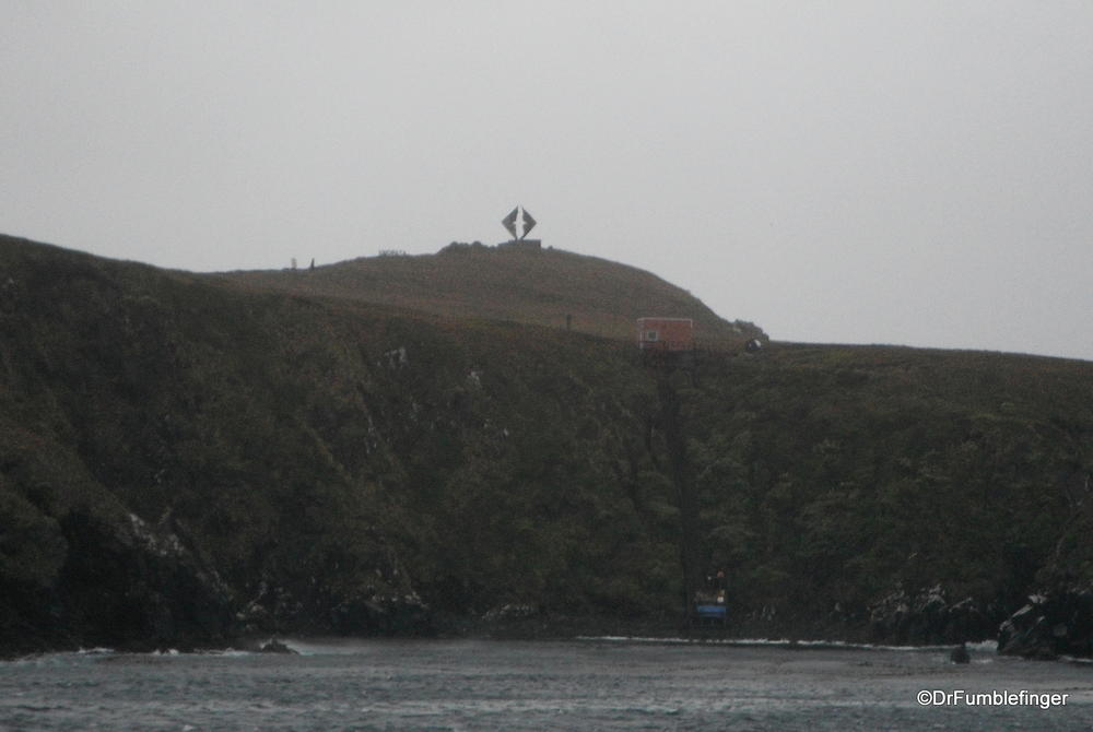 Cape Horn, the most southerly point of South America.  A memorial (with an albatross is present on its hill.