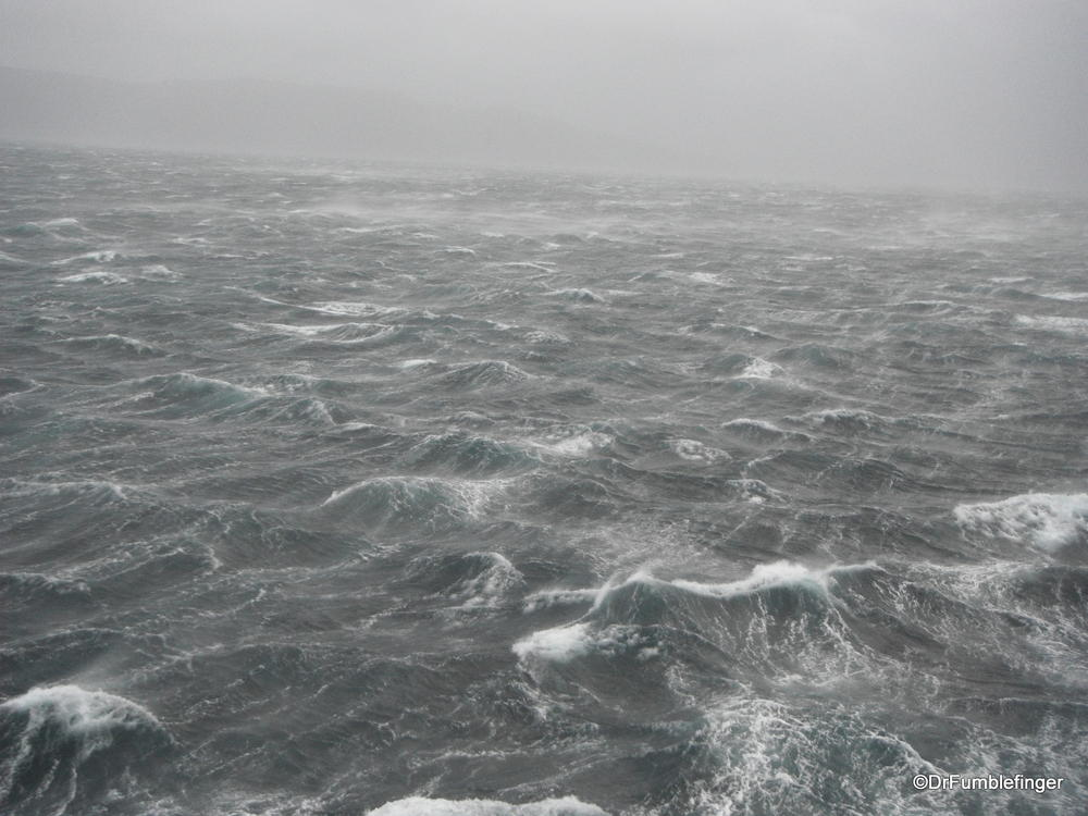 Drake's passage near Cape Horn.  That's what winds gusting to 119 knots look like from the fifth deck of the ship.  The waves had 5-8 m peaks.