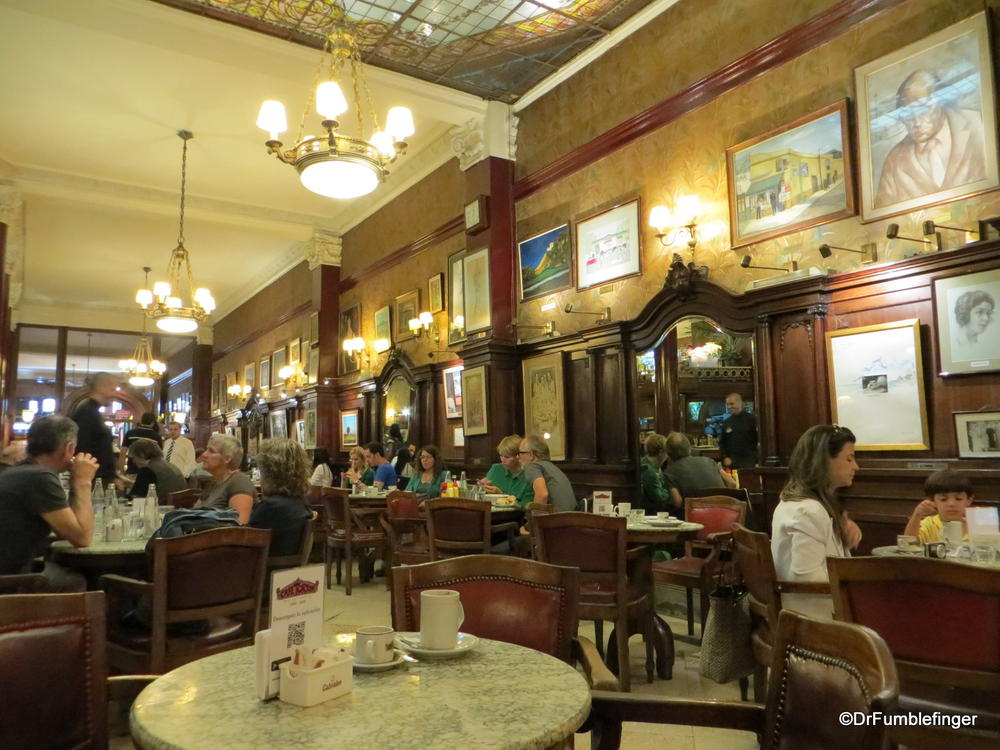 Cafe Tortoni.  The oldest and most famous cafe in Buenos Aires, little change from when it opened in 1858.