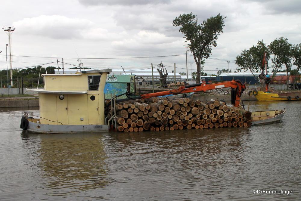 Moving logs downriver, Rio Parana, El Tigre, Argentina