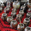 Beautiful collection of mate cups at the Puerto de Frutos market, El Tigre Argentina.  Mate is the national drink of Argentina, a type of tea