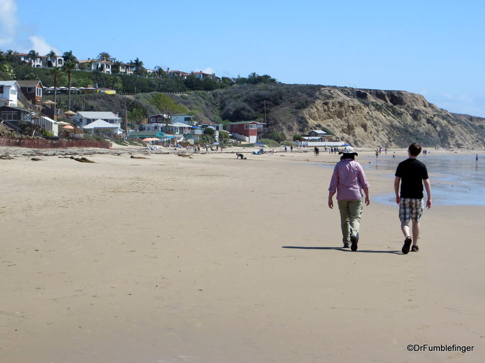 Walking the beach at Crystal Cove State Park, Newport Beach, California