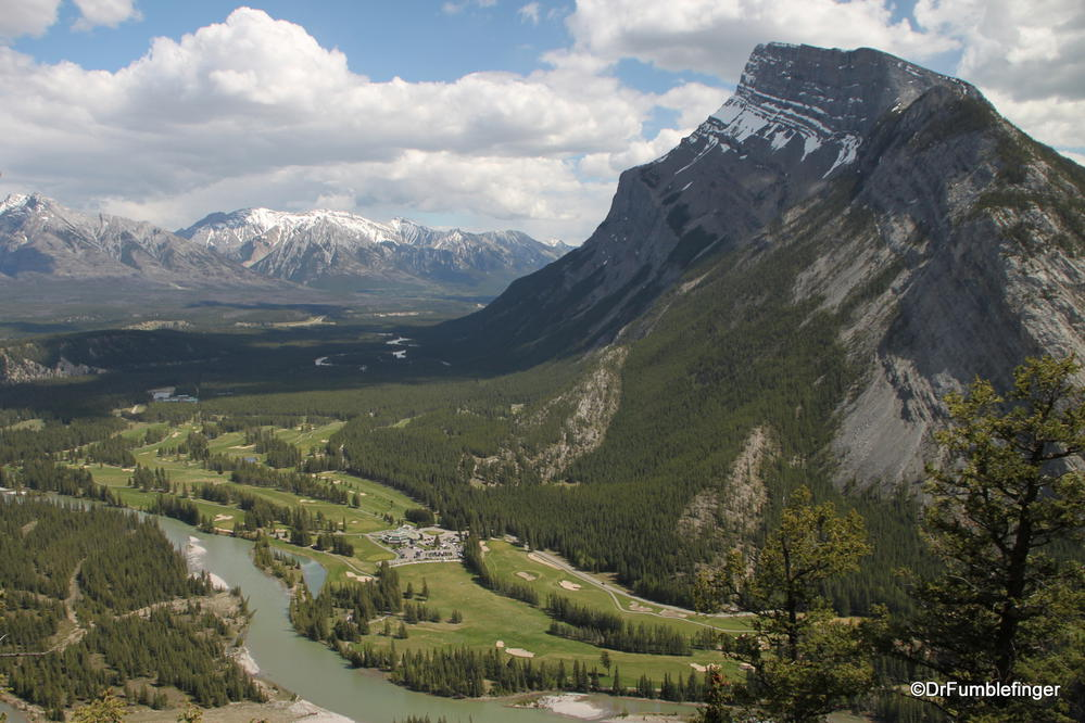 View of Mt. Rundle, Bow River and golf course from Tunnel Mountain