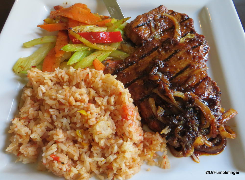 Diaz Pork Adobe, Cuban rice and vegetables.  Diaz restaurant, Lethbridge, Alberta