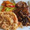 Diaz Pork Adobe, Cuban rice and vegetables.  Diaz restaurant, Lethbridge, Alberta