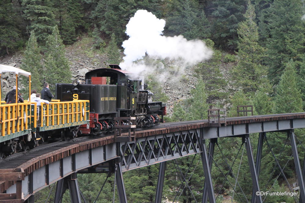 Georgetown Loop Railroad, Colorado.  Train crossing a bridge over a gorge