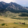View of the Flatirons, near Boulder, Colorado.