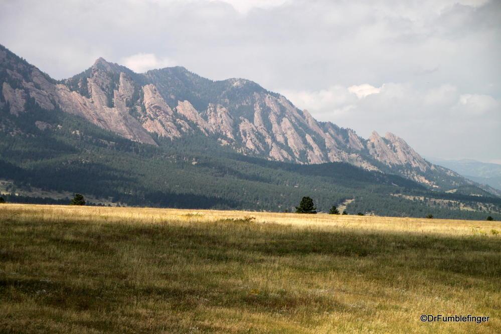 View of the Flatirons, near Boulder, Colorado.