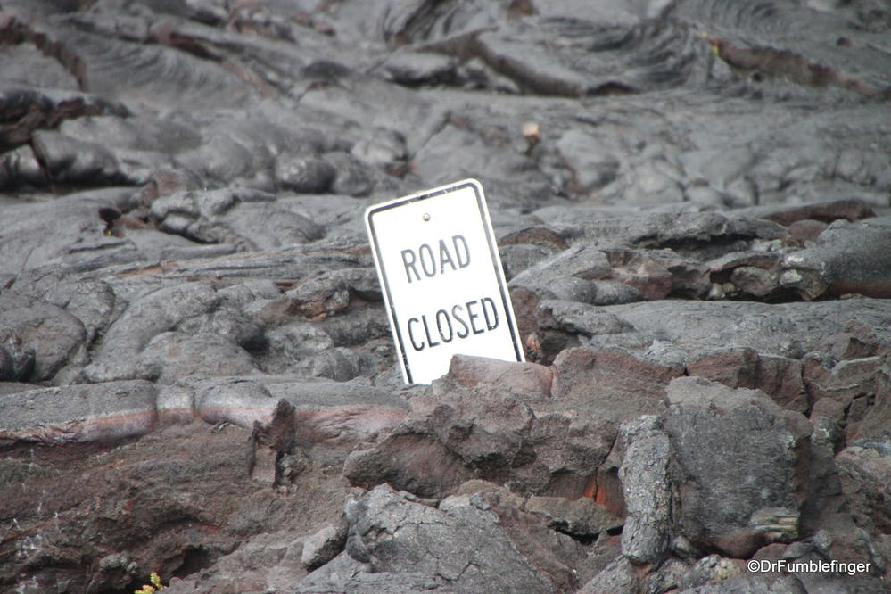 """Road closed"", Chain of Craters Road, Volcanoes National Park, Big Island of Hawaii"