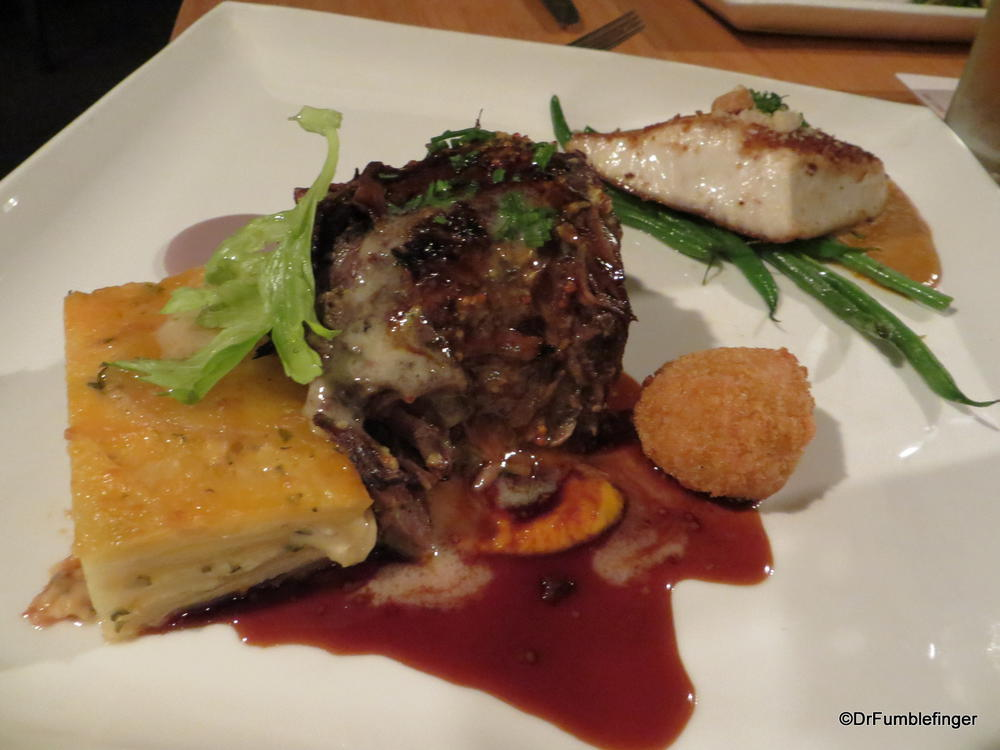 """Surf and Turf"" at Roy's in Waikoloa.  Short rib with macadamia crusted mahi-mahi.  Wonderful!"
