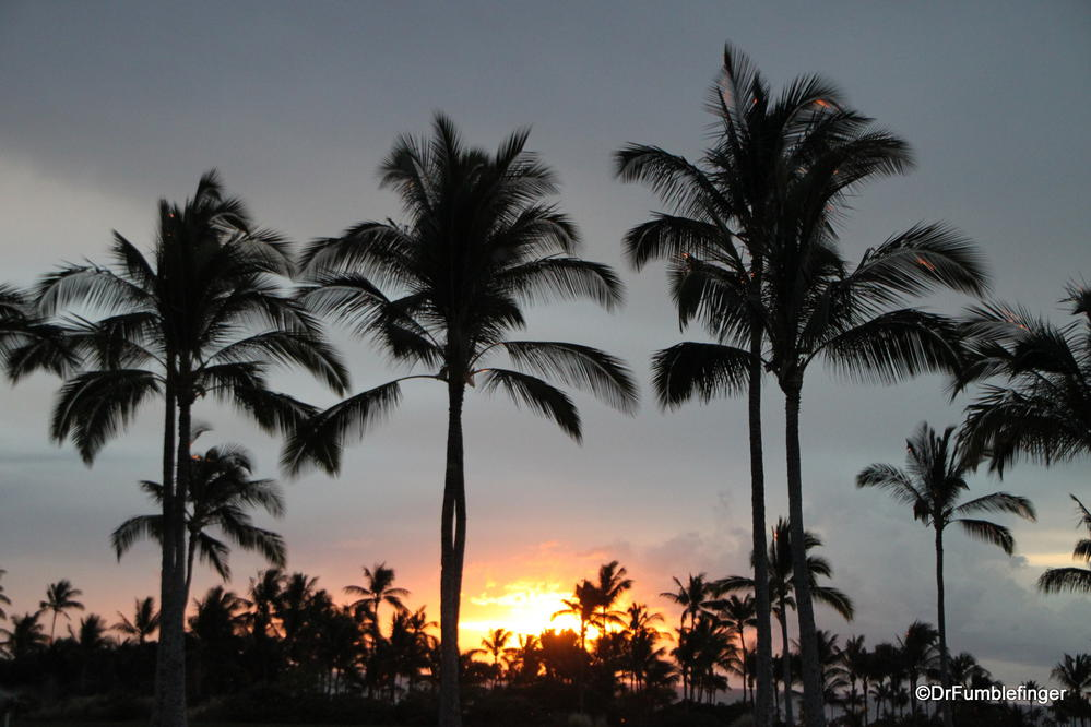 Sunset over the Pacific.  Viewed from our rental in Waikoloa on the Big Island