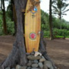 Surfing exhibit (?offering to the God of surfing), Anahola Beach Park, Kauai, Hawaii