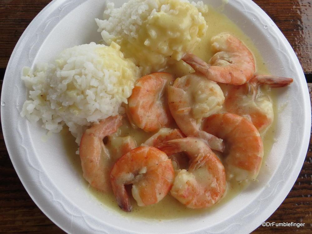 Shrimp with garlic sauce and rice -- excellent.  Waimea, Kauai