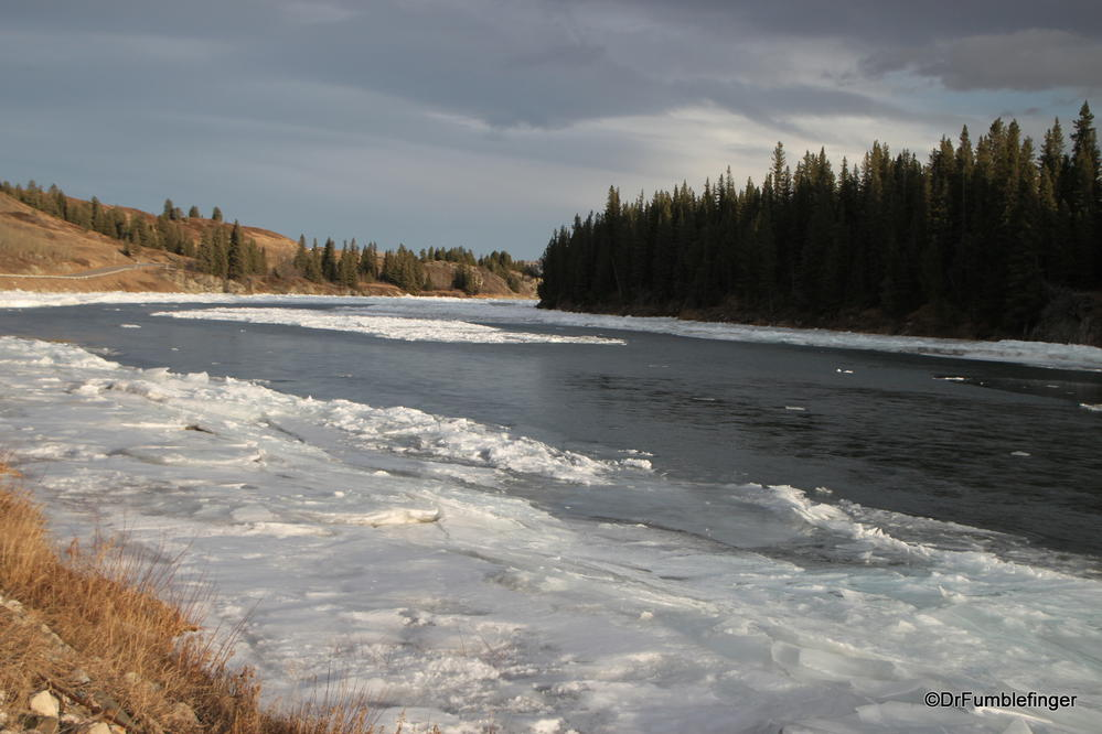 The Bow River is starting to freeze over near the Rockies....