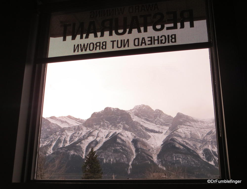 """View of the Rocky Mountains from Canmore's """"Bear Paw"""" pub"""