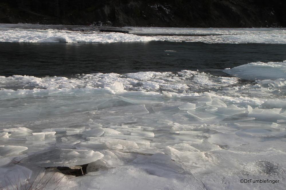 Broken ice on the Bow River, Alberta