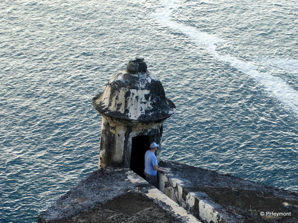 Modern lookout in ancient turret at El Morro