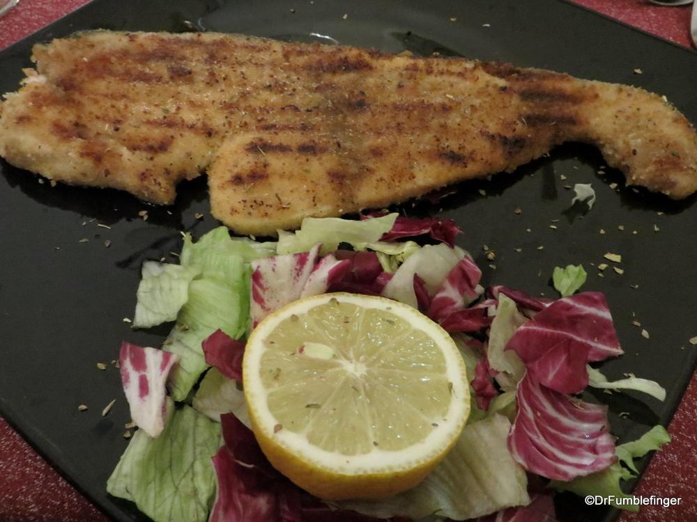 Breaded swordfish, Palermo style.  Wonderful!
